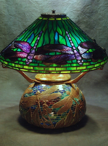 "16"" Dragonfly on Dragonfly Mosaic Urn Base - Created in 2007 - Mosaic by Century Studios"