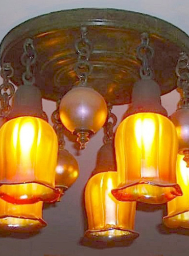 5 Light Ceiling with Tulip Shades and Lustre Balls