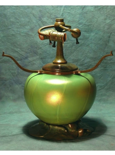 "Lily Pad - Blown Glass & Bronze Base - 12"" Tall to Armset"