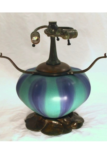 "Lily Pad - Pottery & Bronze Base - 12"" Tall to Armset"