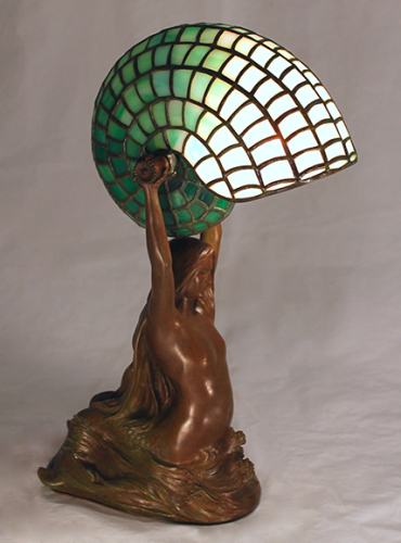 "Mermaid and Nautilus Lamp - 16"" Tall"