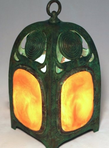 "Turtleback Table Lantern w/Swirls - 13"" Tall"