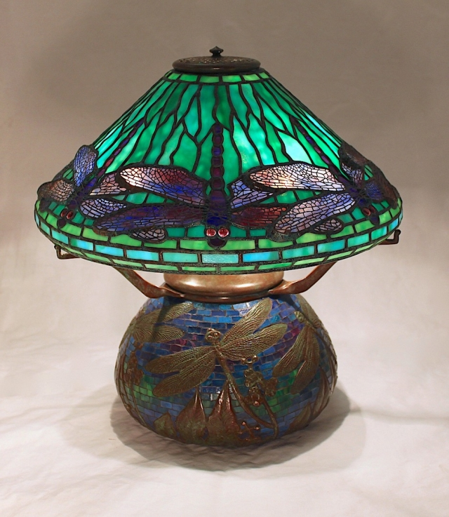 16″ Dragonfly shade on Dragonfly Mosaic Urn base