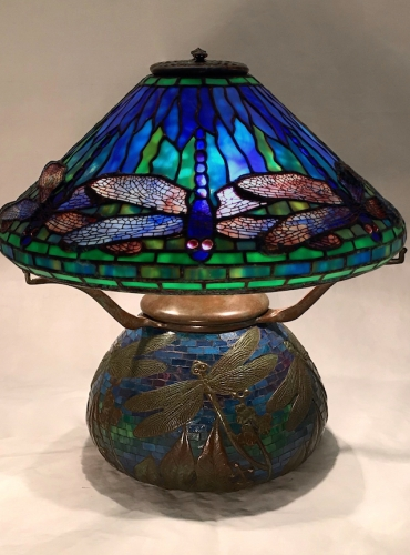 "16"" Dragonfly on Mosaic Urn Base - Mosaic colors will vary"