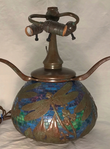 "Dragonfly Mosaic Urn - 11"" Tall to Armset"