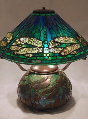 """16"""" Dragonfly on Mosaic Urn Base - Mosaic colors will vary"""